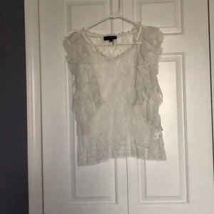White lace ruffle top